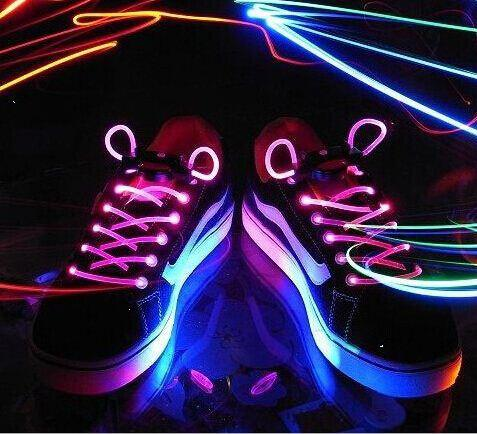 5 Set Hot Cool Fashion LED Shoelaces Shoe Laces Flash Light Up Glow Stick Strap Flat Shoelaces Disco Party for Shoe Accessories