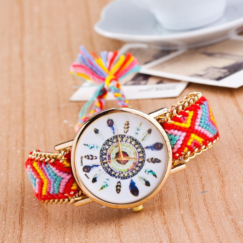 Watch Women Handmade Geflochtene Freundschaftsarmbanduhr Feder HandWoven Armbanduhr Quarzt Golduhr Frauen kleiden Uhren