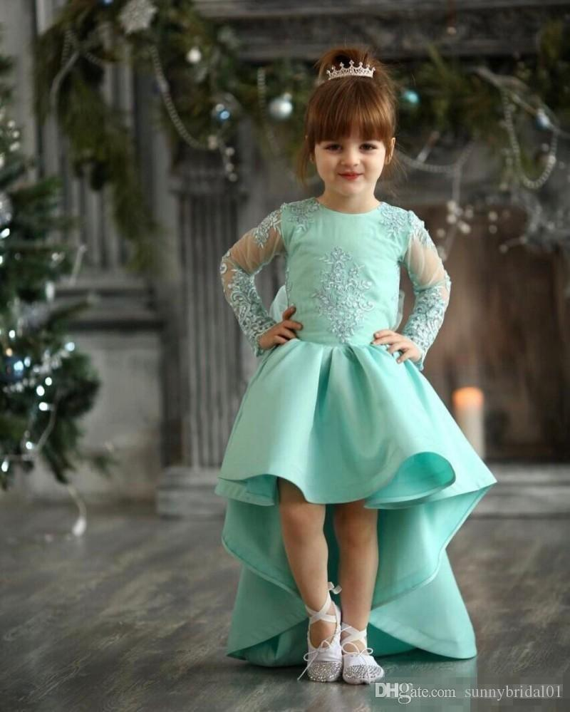 2017 Turquoise High Low Girls Pageant Gowns Lace Appliques Sheer Long Sleeves Flower Girl Dresses For Wedding Baby Birthday Party Dress