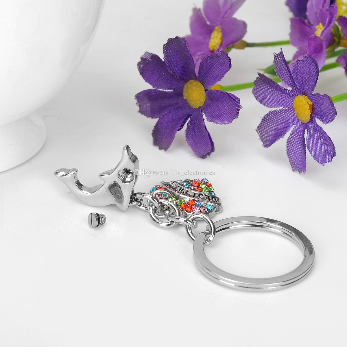 Dolphin Urn Keychain BEST FRIEND in Heart Ashes Memorial Keepsakes Cremation Jewelry with Gift Bag and Funnel
