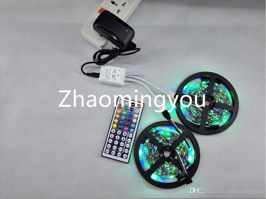 RGB LED Light Strip 10M 3528 SMD 300 LED bande flexible Light Set avec télécommande et 44Keys DC 12V Adaptateur d'alimentation