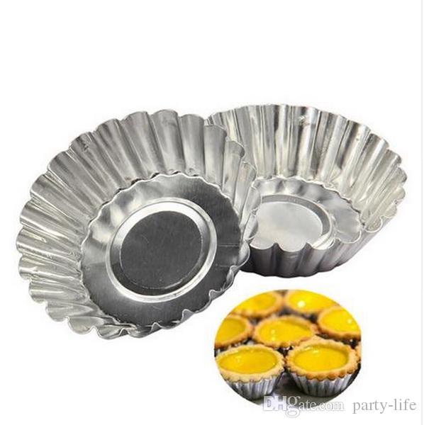1000 pz / lotto, torta in lega di alluminio stampo in crosta strumento di cottura cupcake uovo crostata di frutta muffa della torta 7 cm di diametro