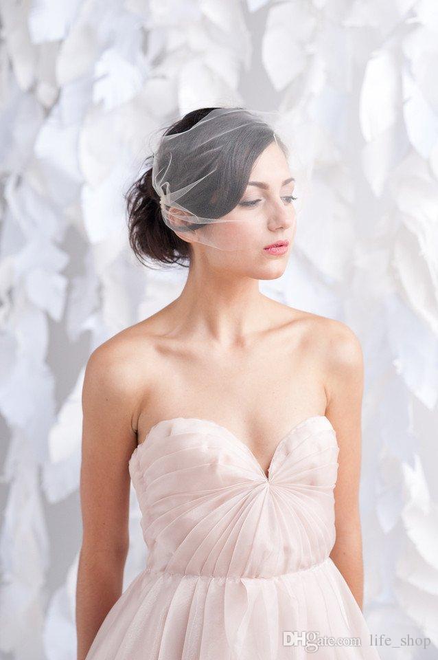 Romantik Birdcage Gelin Yüz Veils Düğün Veis ile Tarak Aksesuarları Fildişi Gelin Peçe Parti Aksesuarları Blusher