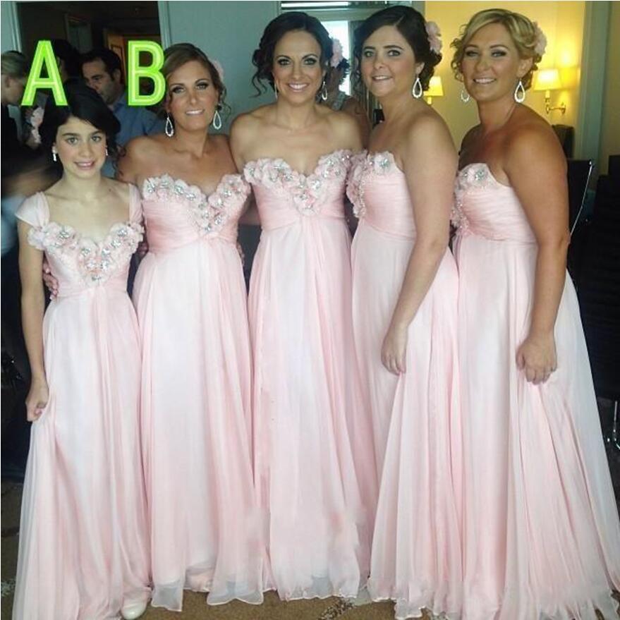 Chiffon Long Bridesmaid Dresses 3D-Floral Flowers Appliqued Party Gowns Ruched Beaded Prom Dresses vestido de festa longo robe de soire