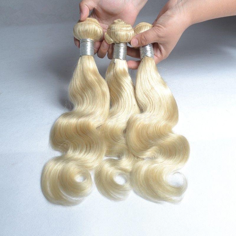 Platinum Blonde Brazilian Virgin Hair Pure Color #613 Body Wave Human Hair Extensions 8A Blonde Brazilian Hair Weave Bundles