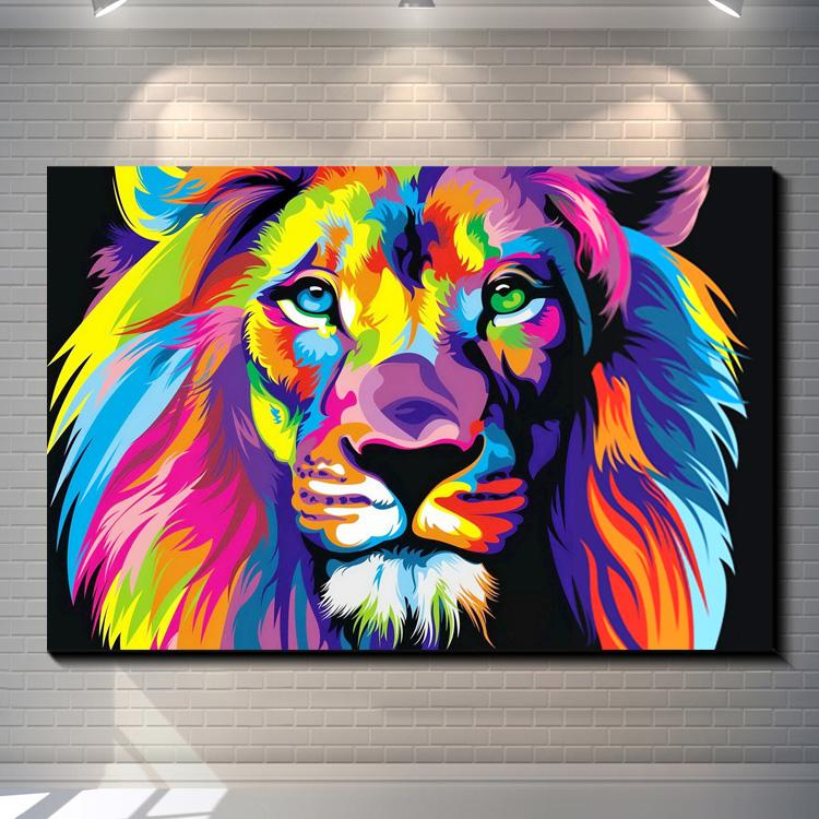 2018 dazzle colour lion painting pictures abstract art for How to design a mural