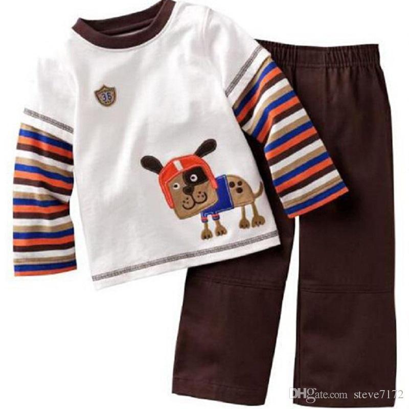Pirate Fashion Children Clothes Sets Wholesale Boys Pajamas Suit Kids Sport Suits 100% Cotton 90-130 T-Shirts Trousers