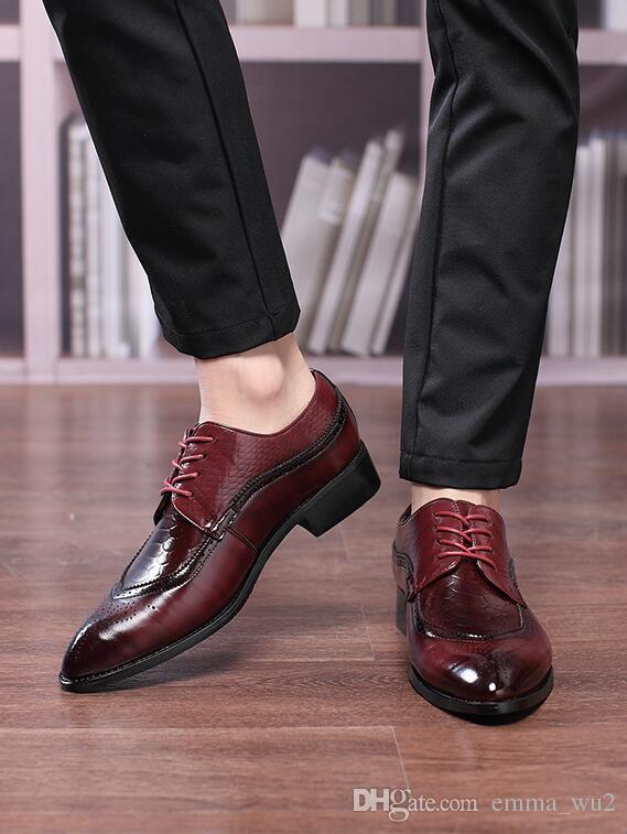 Moda Patent Deri erkek Iş Elbise Derby Ayakkabı Klasik Oyma Brogue Adam Düğün Ayakkabı Zapatos Hombre büyük boy 48
