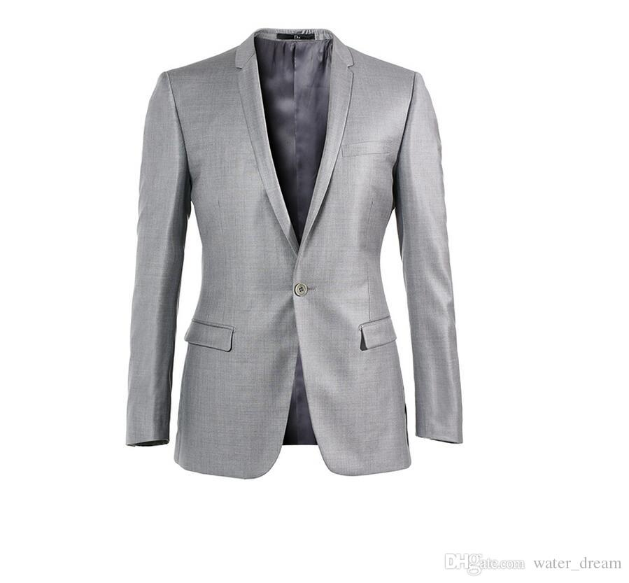Custom Made One Button Shiny Silver Groom Tuxedos With Black Shawl Lapel Best Man Wedding Wears Groomsman Suits Jacket+Pant+tie