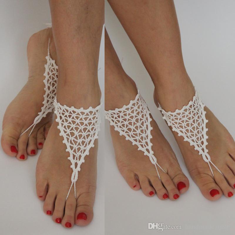 White HochzeitBoho Fußkette SchuheWeiße Barfuss Floral Sexy SandalenBridal Beach Crochet Party Garten Hochzeit Frauen gb76yYf