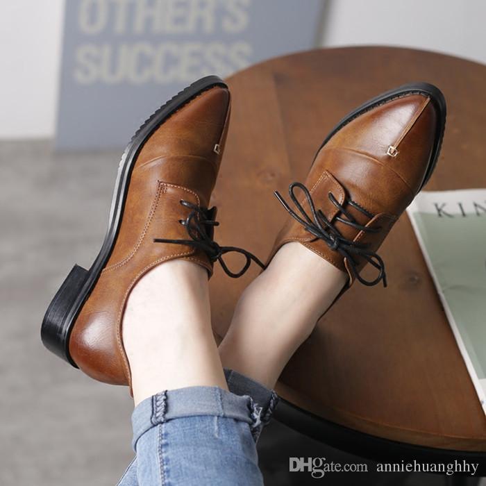 488b032b1ea07 Compre Zapatos De Mujer De Primavera Otoño Moda Zapatos De Mujer De Época  Estilo Oxford Plataforma De Tacón Grueso Zapatos De Mujer Con Cordones De  Cuero Pu ...