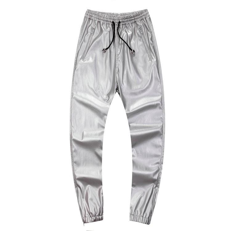 Autumn & Winter Slim Fit PU Faux Leather Jogging sweatpants Men Fashion Red Black Silver Jogger Pants Trousers Man