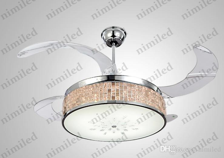 """nimi901 42"""" Invisible LED Acrylic Blades Ceiling Fan Light Chandelier Living Room Lights Restaurant Pendant Lamps Remote Control"""