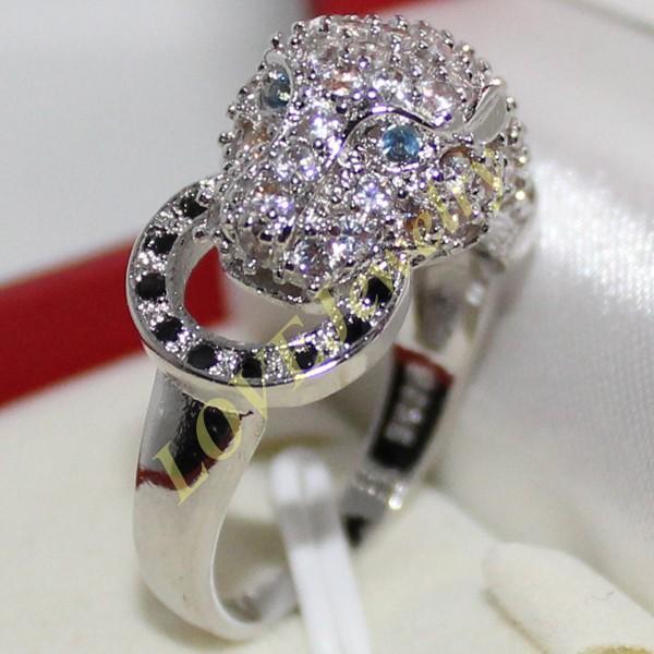 크기 6,8,10 여성 925 실버 시뮬레이션 다이아몬드 스톤 CZ 포장 세트 레오파드 링 디자이너 영감 브랜드 쥬얼리
