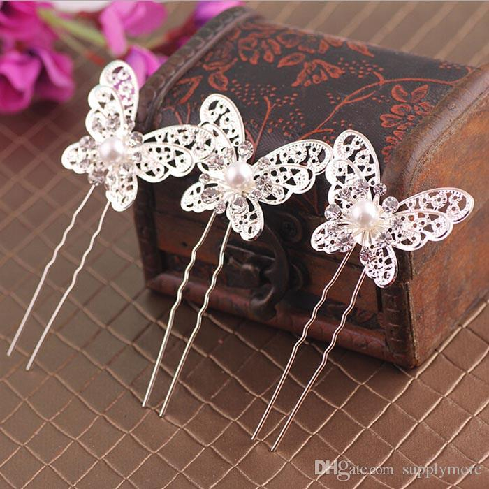 Butterfly Bridal Hairpin Pearls Bling Bridal Accessories U type Hair clip 1 drop shipping