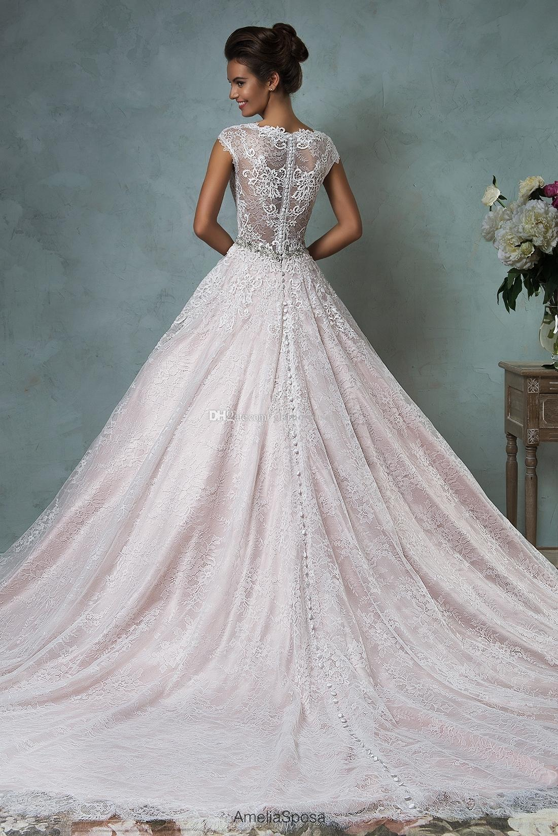 2016 Amelia Sposa Lace Wedding Dresses Cap Sleeves V Neck Beaded A Line Illusion Back Bridal Gowns With Buttons Back
