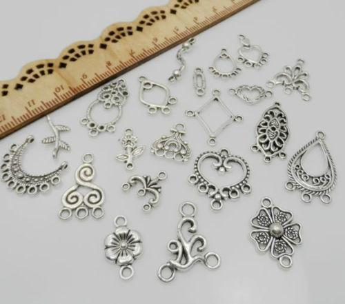 220pcs Mixed Tibetan Silver Connectors charms Pendant For Bracelet Jewelry Making