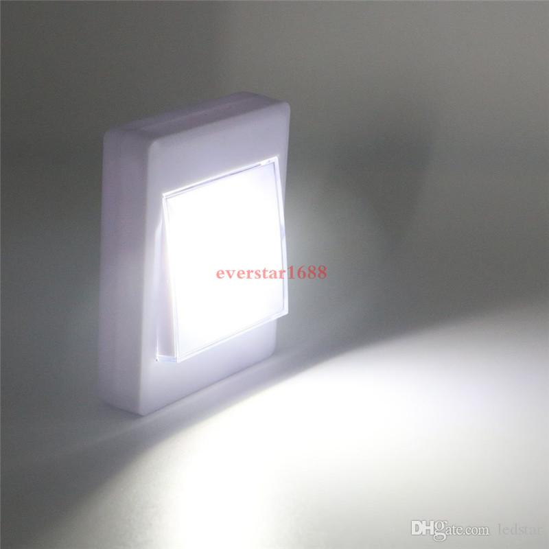 Magnético LED Night Light Ultra Brilhante Mini COB Luz de parede sem fio com interruptor Magic Tape para Camp Lamp Indoor