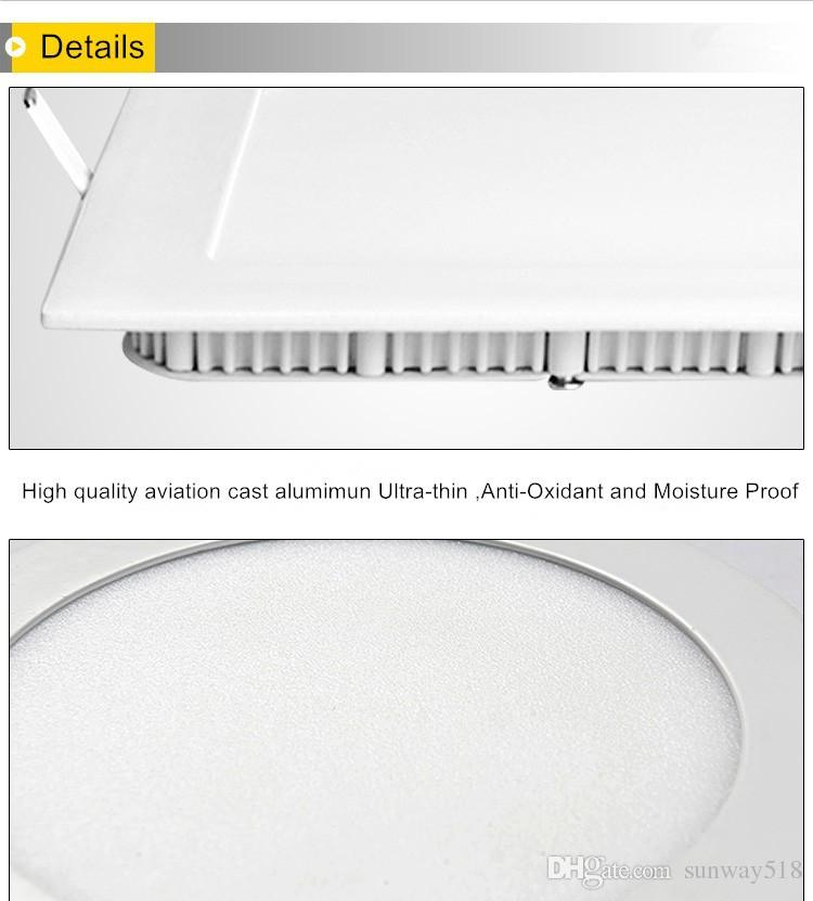 Ultra Bright 3W 6W 9W 12W 15W 18W 24W Dimmable Led Ceiling light Recessed Downlight Round Panel light 2500Lm Led Bulb Lamp
