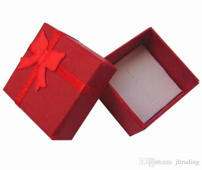 48 Sztuk Mieszane Kolory Tanie Cena Srebrna Biżuteria Pierścionki Kolczyk Pudełka Papier Papier Pakiet Mały Ring Box Hurtownie Darmowa Wysyłka