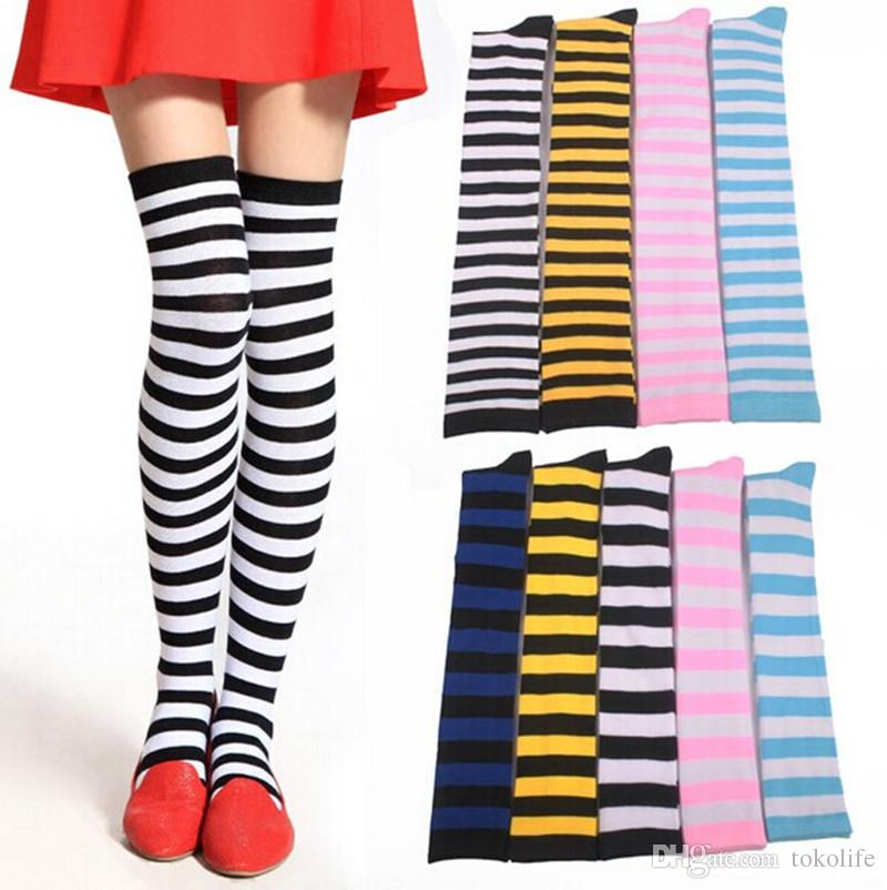 Striped Knee High Socks For Girls Adult Japanese Style Zebra Thigh ...