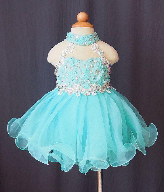 High neck beads organza light sky blue backless applique cupcake little girls pageant dresses kids toddler glitz prom Infant ball gowns