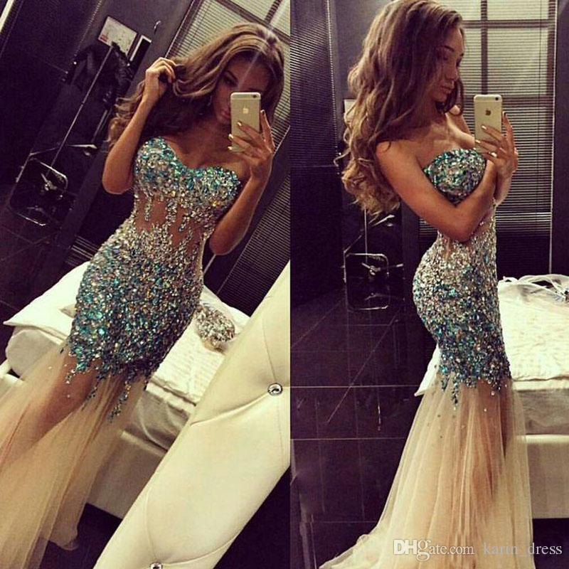 2016 Sparkly Artificial Rhinestones Major Beading Mermaid Prom Dresses Sweetheart Champagne Tulle Illusion Bodice Mermaid Evening Dress 2016