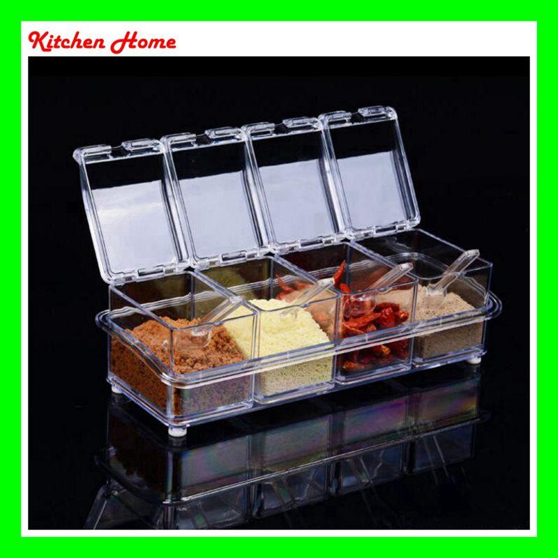 4Pcs/Set Transparent Crystal Kitchen Sauce Box Salt Jar Spice Case  Seasoning Jar Peper Storage Sauce Container With Lid And Cover