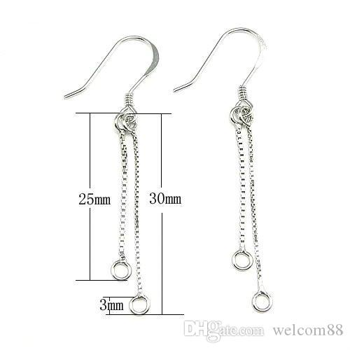 925 Sterling Silver Earring Hook Chains Jewelry Findings Components For DIY Craft Jewelry Gift WP252