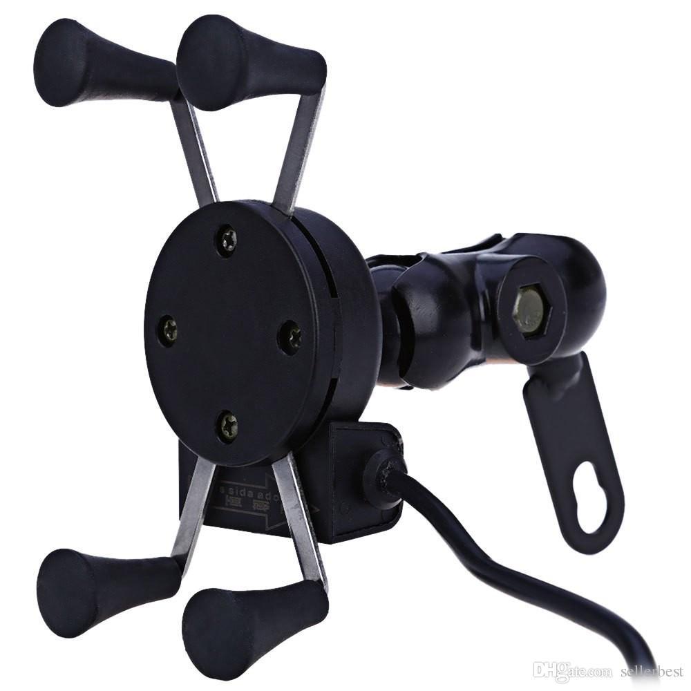 Supporto auto da moto Presa X-Grip Presa presa di corrente caricabatterie USB da 12 V iPhone 6/6 Plus GPS Samsung Supporto telefono intelligente Sony HTC
