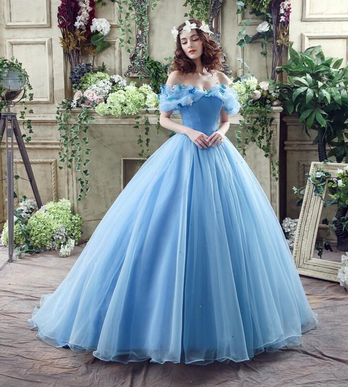 elegant blue ball gown cap sleeves hand flower cinderella