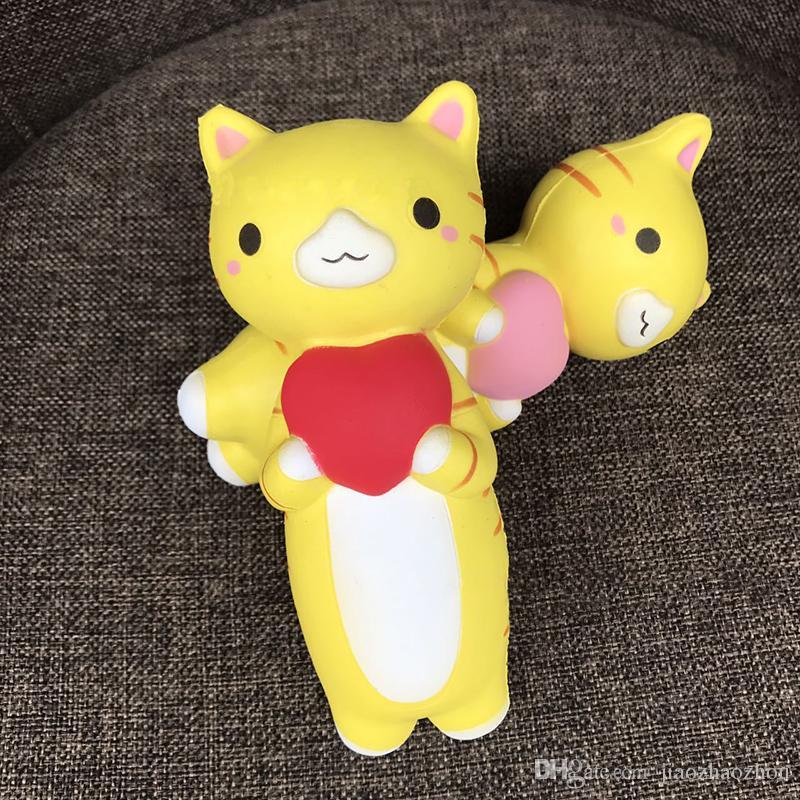 10psc / 17cm Corazón Gato Squishy Jumbo Kitty Pussy Lento Levantamiento Original Teléfono Correas Colgante Crema Perfumada Pan Pastel Niños Diversión Juguete Regalo