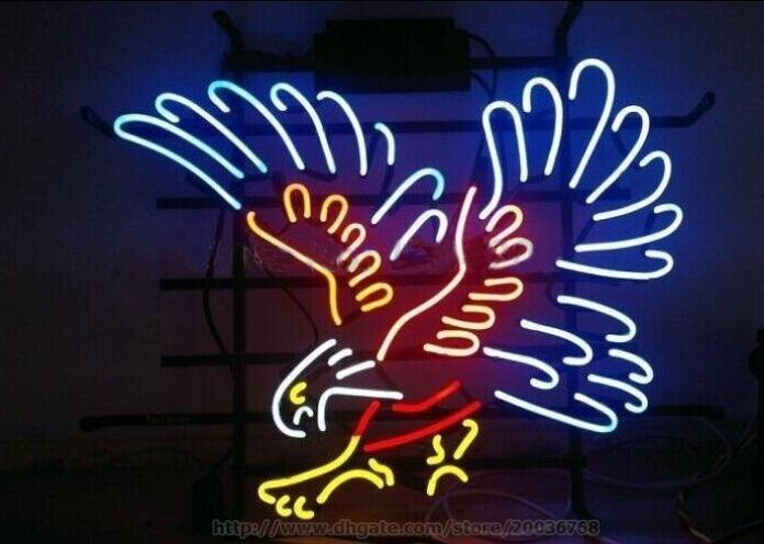 2019 Silver Hawk Eagle Handcrafted Neon Sign Real Glass
