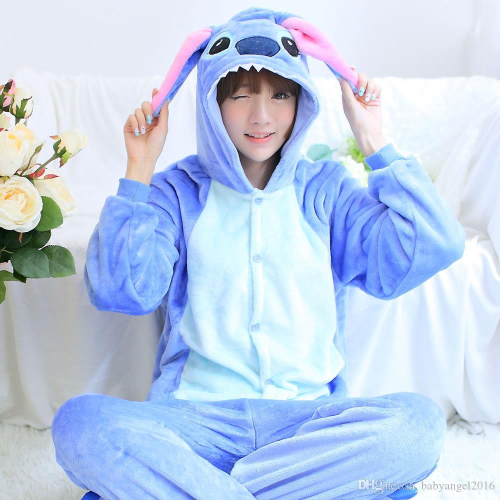 Spedizione gratuita bella economici blu stitch kigurumi pigiama anime pigiama costume cosplay adulto unisex tutina da notte degli indumenti da notte di halloween s m l xl