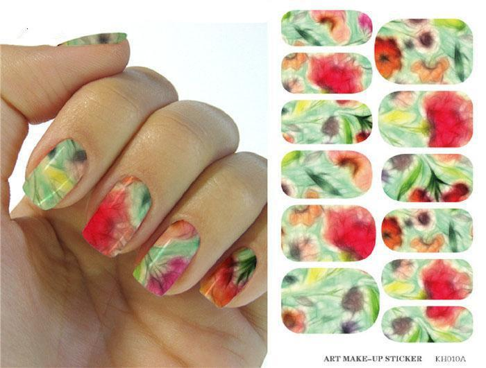 Kh010 Water Transfer Foil Nails Sticker Colorful Lotus Design Nail