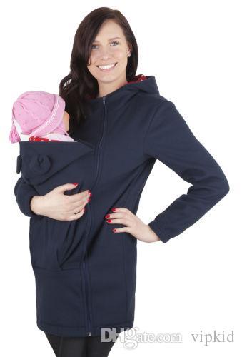Sudadera con capucha del portador de bebé de otoño de mamá Zip Up Maternity Canguro Sudadera con capucha Pullover 2 en 1 portabebés