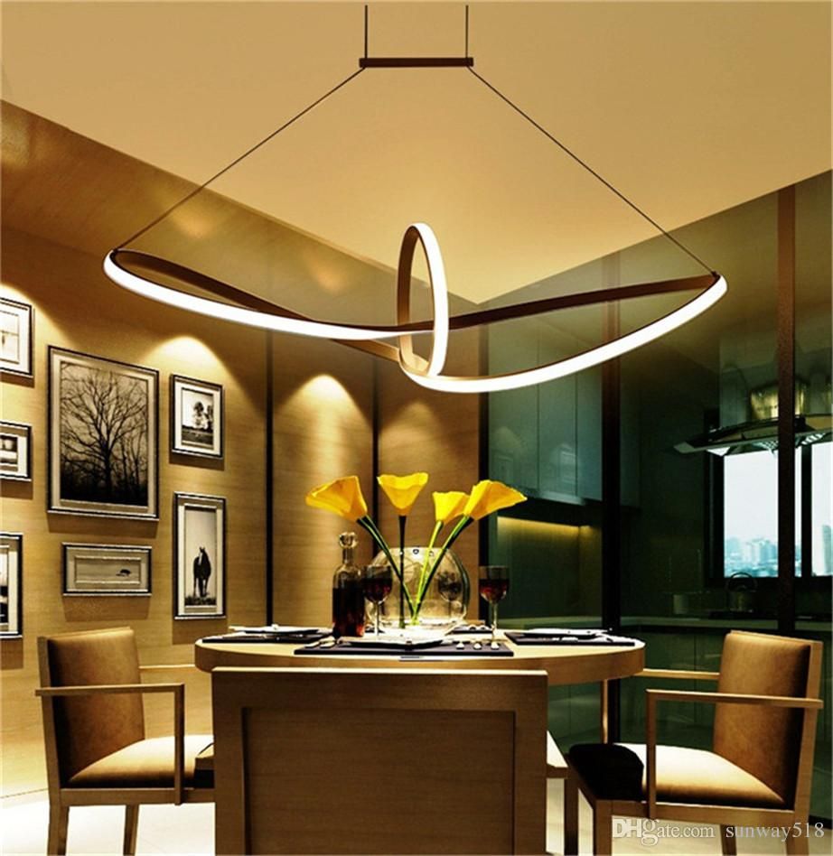 Modern Minimalist Led Pendant Light Led Hanging Lamp Suspension Chandeliers  Livingroom Indoor Lighting Fixture Aluminium Acrylic Boat Mobius Hanging  Lamps ...