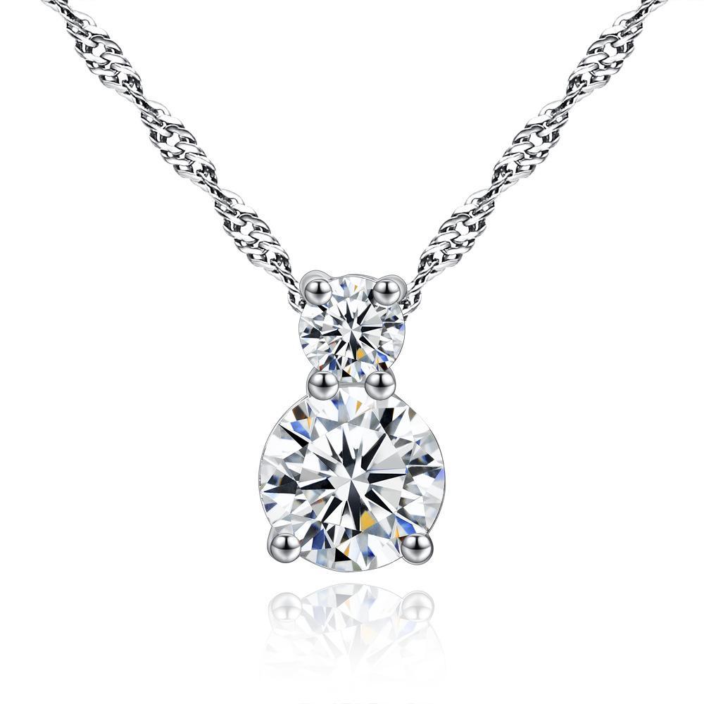 Nouveau 925 Argent Crystal Stone Incrustation Chaîne Fleur Pendentif Lady Collier
