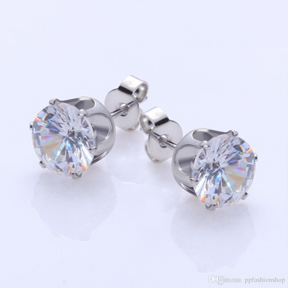 1 ensemble de mode boucles d'oreilles zircone boucles d'oreille en acier pour les femmes panneaux d'affichage en gros bijoux livraison gratuite