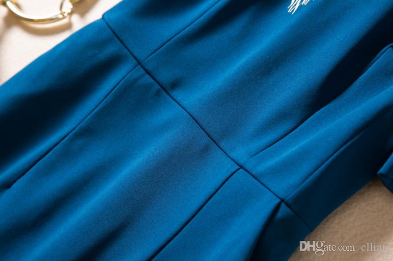 2017 Embrodiery женщины оболочка платье с коротким рукавом пр офис Леди работы платья 094A685