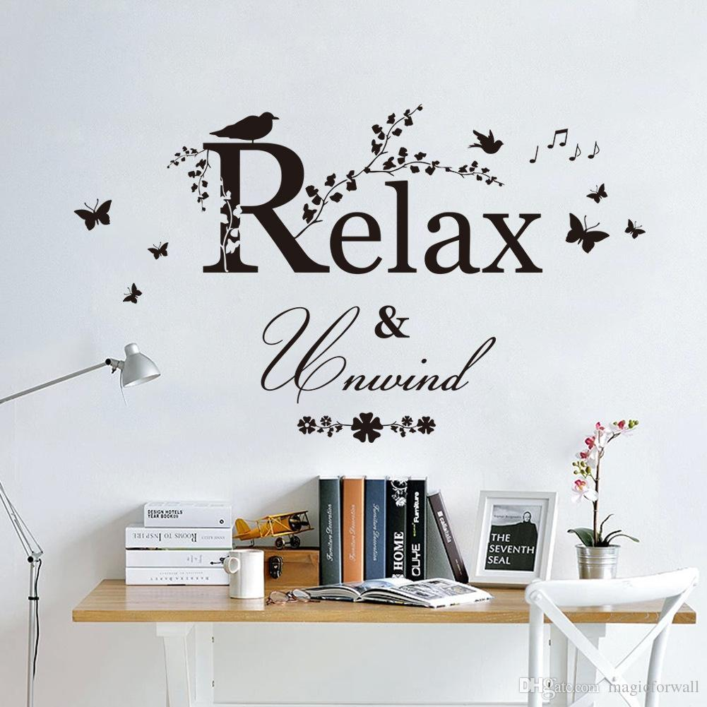 Black Butterfly Tree Branches With Leaves Birds Wall Stickers - Wall decals relax