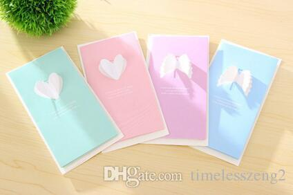 Creative Small Pure Fresh Wings And Love Heart Gift Card Thanksgiving Diy Birthday Greeting Write Good Wishes To He Her Postcards Online