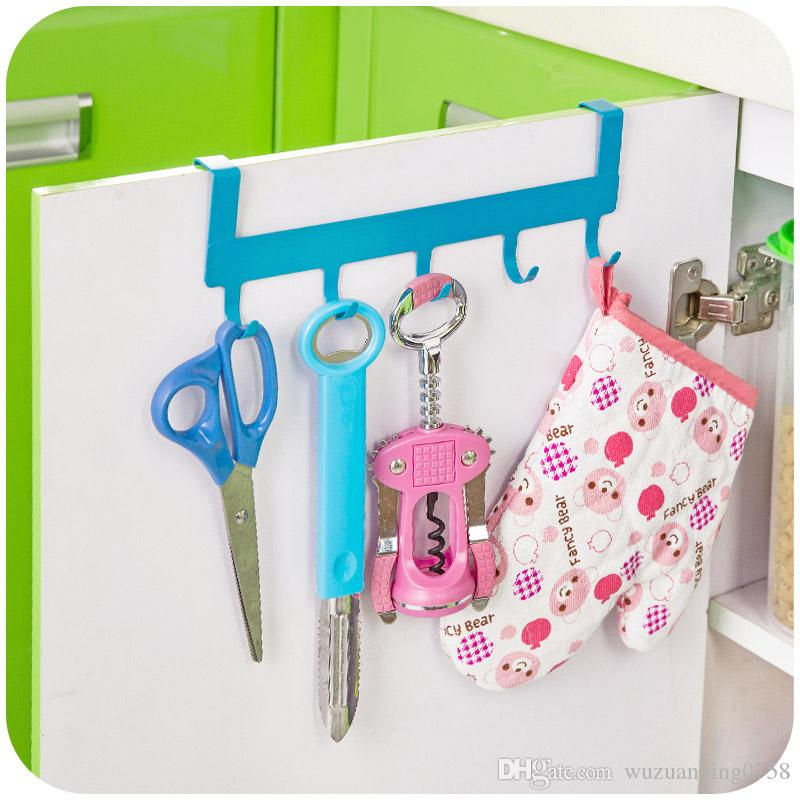 2017 5 Hooks Iron Over Door Rack For Kitchen Cabinet Cupboard Door Hanging  Shelf Chrome Hanger Organizer Home Decor From Wuzuanbing0758, $5.38 |  Dhgate.Com