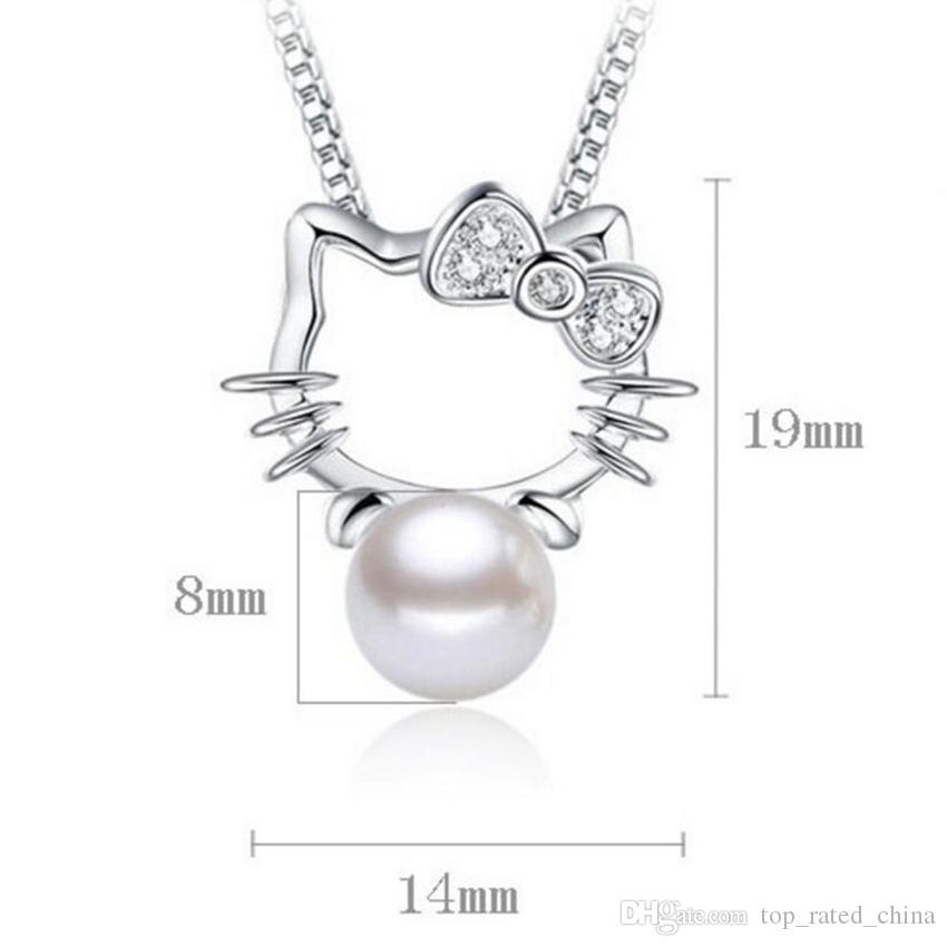 Silver plated Shambhala Super Flash crystal imitation pearl jewelry agate stone pendant fashion Hello Kitty necklace