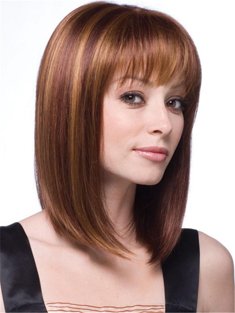 Natural Short Blonde Wig Medium Length Straight Hair Wigs