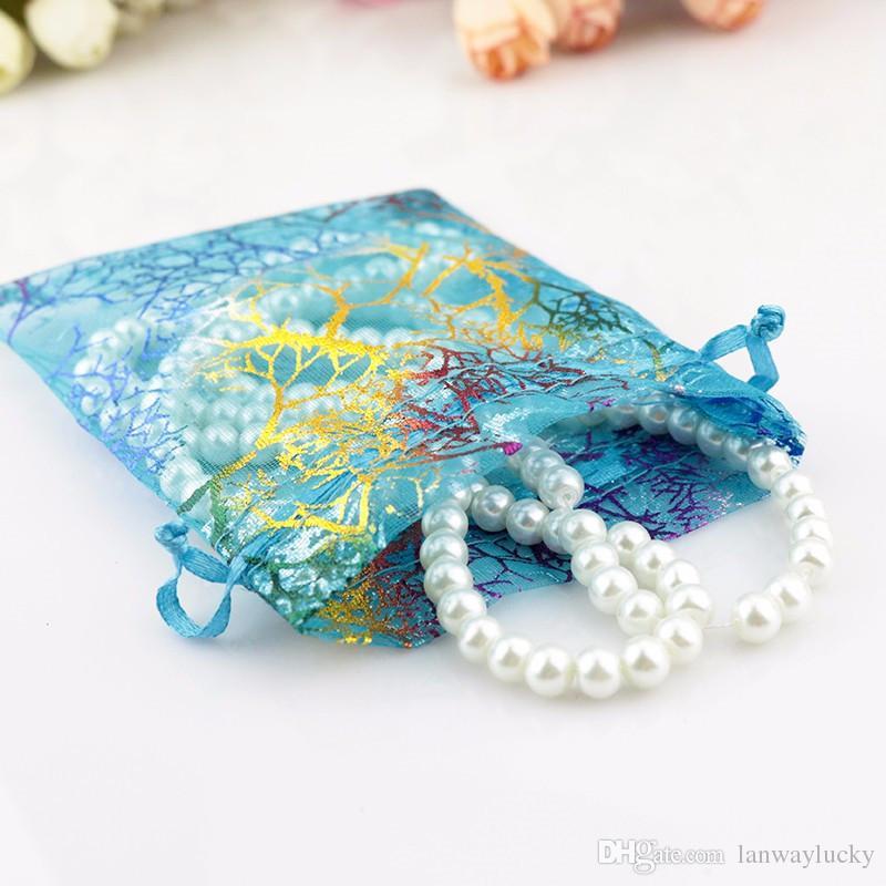 Coralline Motif Bleu Organza Cordon De Bijoux Pochettes Partie Faveur De Mariage Emballage Bonbons Wrap Carré Cadeau Sacs 9X12cm 3.5''X4.7 ''
