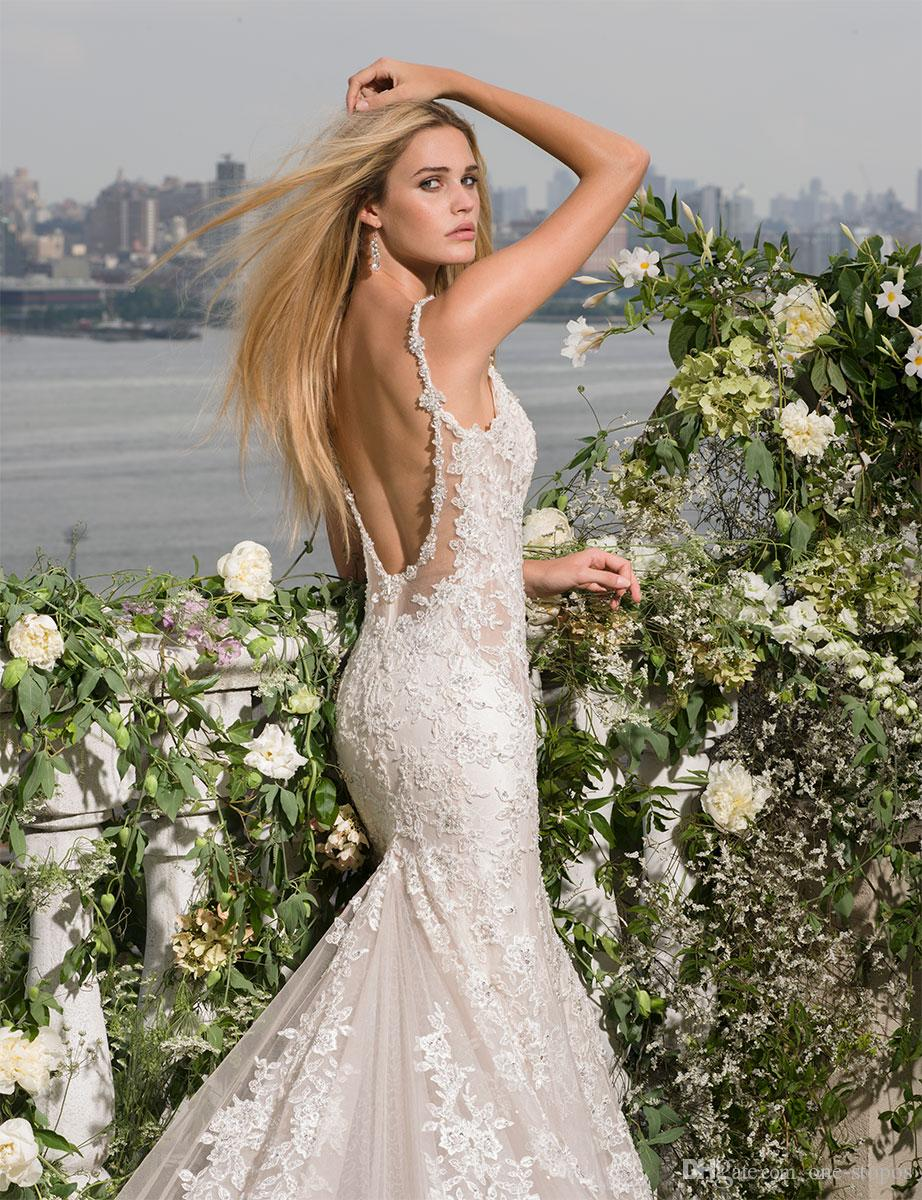 2017 Lace Mermaid Wedding Dresses Bridal Gowns Sexy Beaded V Neck Spaghetti Straps Backless Chapel Train vestidos de novia