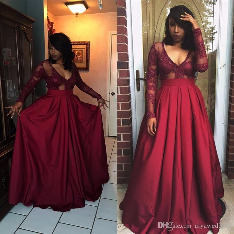 644b179228 Burgundy Long Sleeve Prom Dresses 2019 Elegant Deep V Neck A Line Dark Red Prom  Gown Top Lace Floor Length Cheap African Party Gown Grecian Prom Dresses ...
