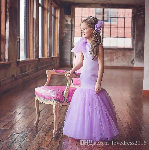 New 2018 long floor tulle mermaid flower girls dresses for weddings with flower decoration crew neck princess maid of honor party gowns