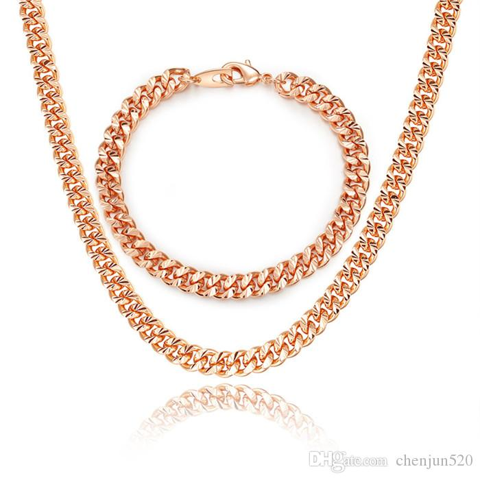 Layered Curb Link Chain Necklace Bracelet Set 18K Real Gold/Rose Gold/Platinum 6 Sizes Fashion Men Jewelry Accessories
